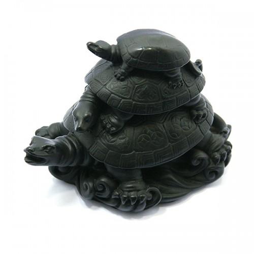 3'lü Siyah Kaplumbağa Biblo
