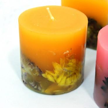 Kuru Çiçekli Mum Yuvarlak Sarı