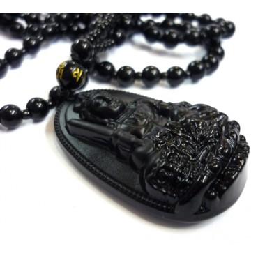 Siyah Obsidyen Buddha - Bodhisattva Kolye