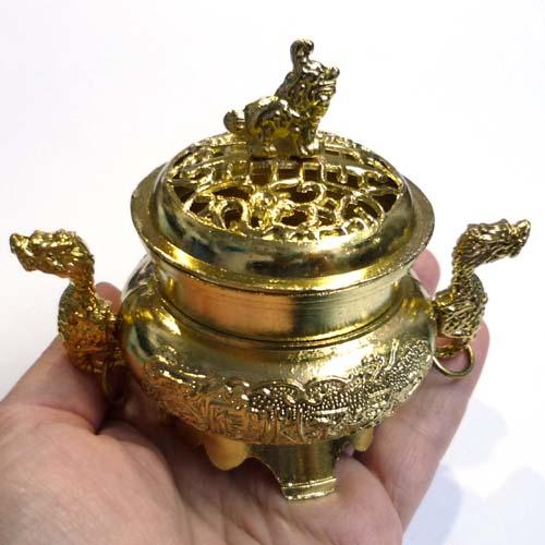 Aslan Ejderha Figürlü Buhurdanlık Tütsülük - Altın Rengi