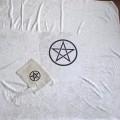 Kadife Pentagram Tarot Örtü ve Kese Seti Büyük