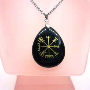 Vegvisir Tılsımı Siyah Obsidyen - Viking Pusula